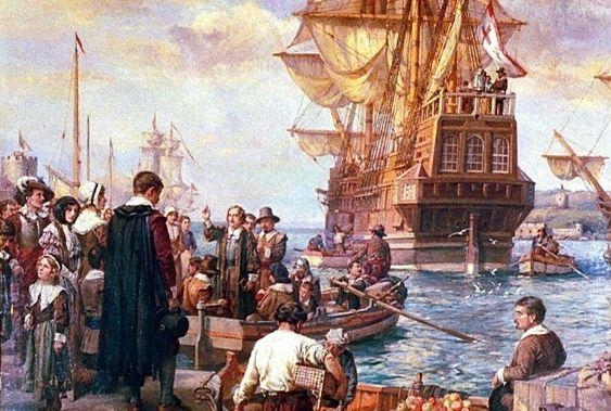 pilgrims boarding ship